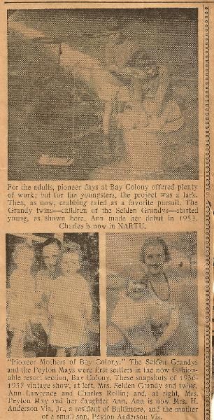 Cavalier Park and Bay Colony 1955 Newspaper Clipping